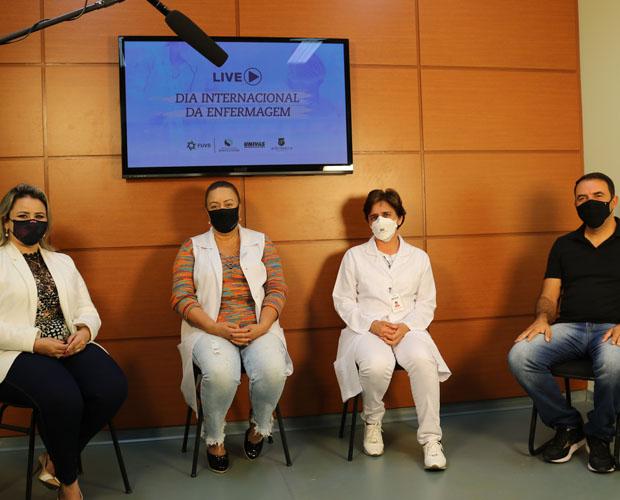 Professoras do curso de Enfermagem da Univás e diretoria do HCSL participam de live