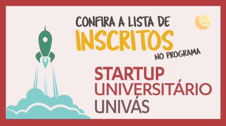 Relação de inscritos Startup Universitário